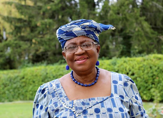 FILE PHOTO: Okonjo-Iweala poses outside a Nigerian diplomatic residence in Chambesy
