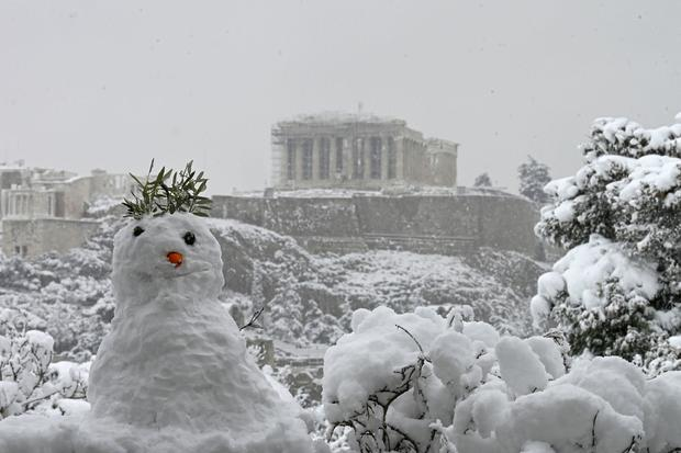Snowman in Athens