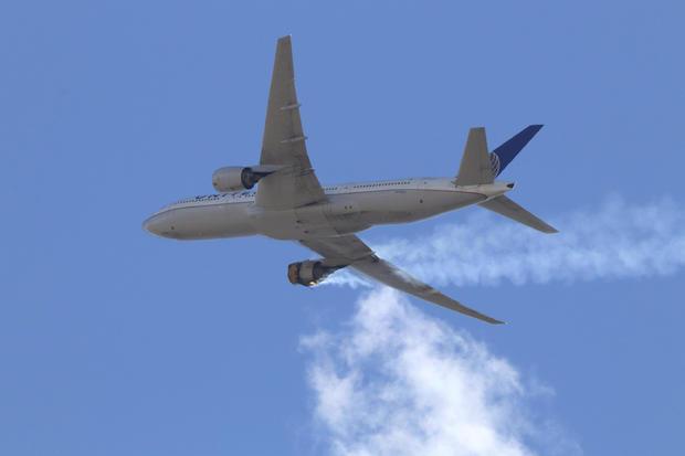 United Airlines — engine explosion, emergency landing
