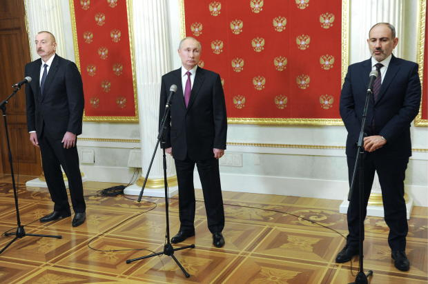 Leaders of Russia, Armenia and Azerbaijan meet for talks in Moscow