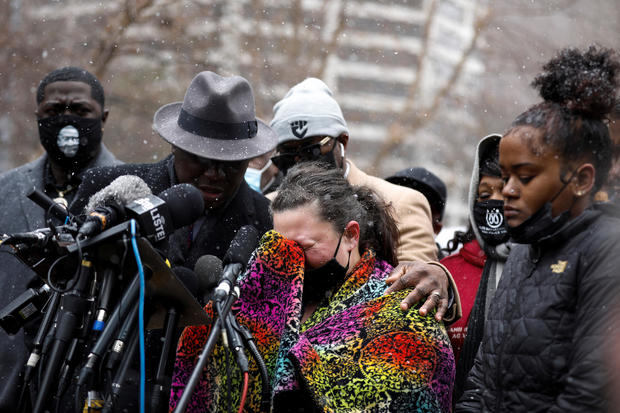 Katie Wright, Daunte Wright's mother, breaks down during a press conference outside the Hennepin County Government Center in Minneapolis, Minnesota, April 13, 2021.
