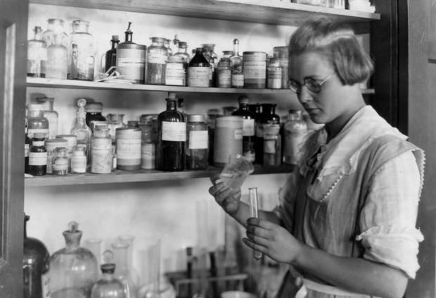 A Third year high school girl in the chemical laboratory, - Greenbank Consolidated School,