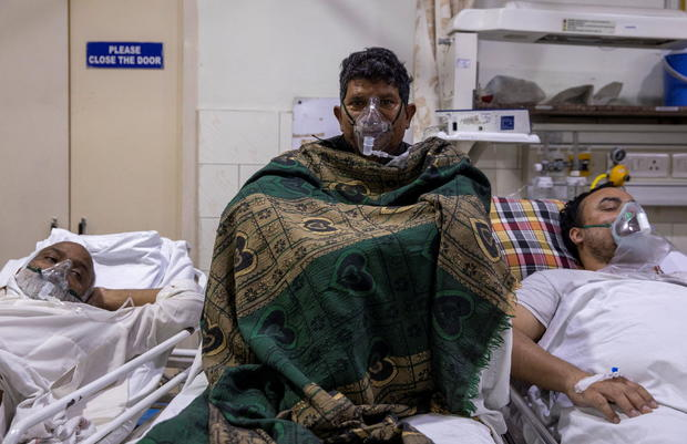 Patients suffering from the coronavirus disease (COVID-19) receive treatment inside the emergency ward at Holy Family hospital in New Delhi