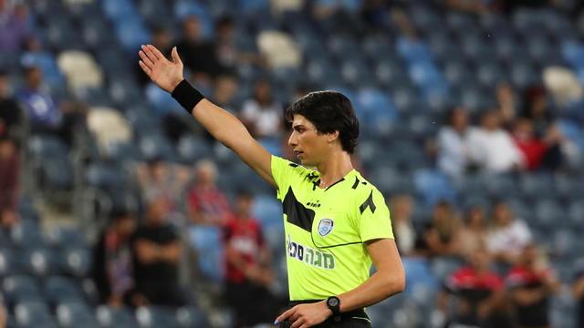 Sapir Berman referees an Israeli Premier League soccer match in Haifa