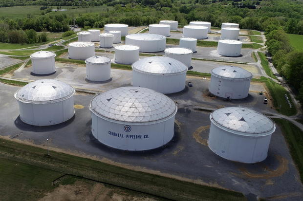Holding tanks are seen in an aerial photograph at Colonial Pipeline's Dorsey Junction Station