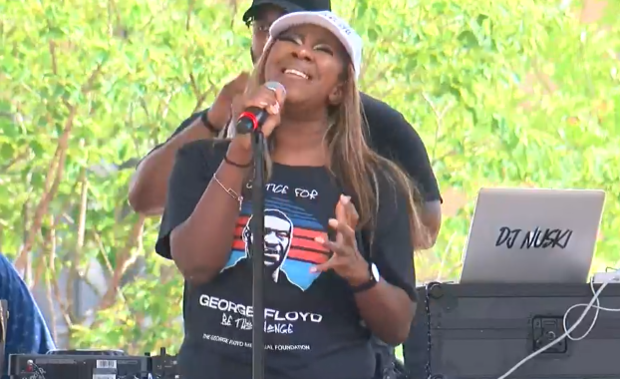 Singer Le'Andria Johnson performs May 25, 2021, at a Celebration of Life event in Minneapolis marking a year since George Floyd's death at the hands of police.