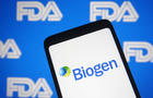 In this photo illustration the Biogen logo of a