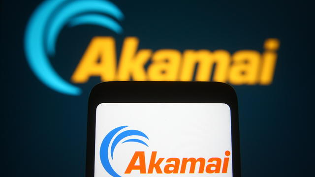 In this photo illustration, Akamai logo of an internet