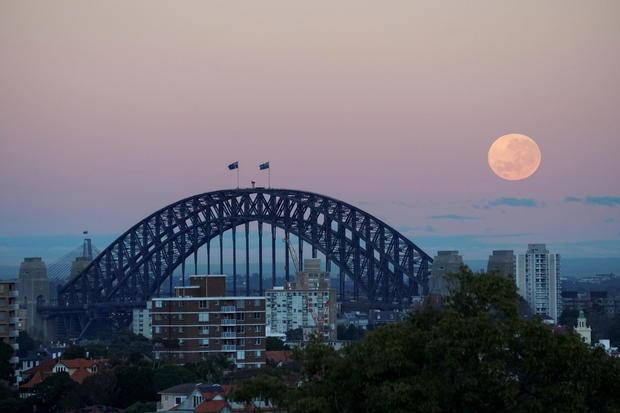 The 'strawberry moon' is seen over Sydney Harbour Bridge in Sydney