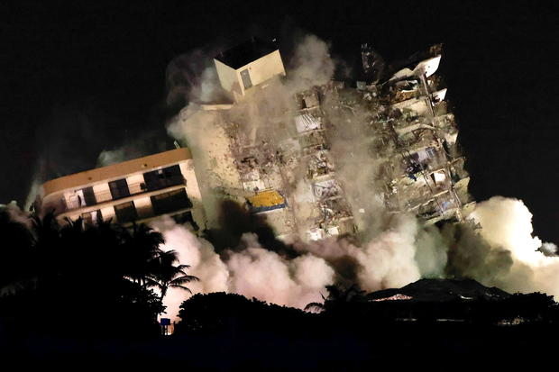 Demolition of the partially collapsed Champlain Towers South residential building in Surfside