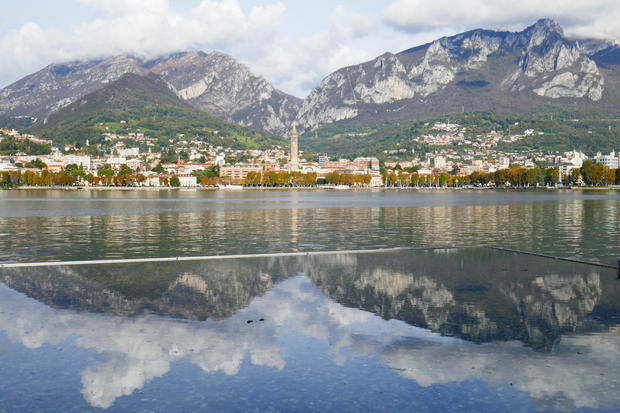 Italy. Lombardy. Lecco. Panorama from Malgrate