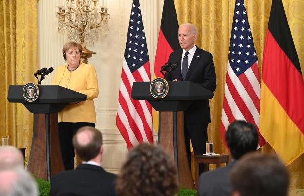 President Joe Biden and German Chancellor Angela Merkel