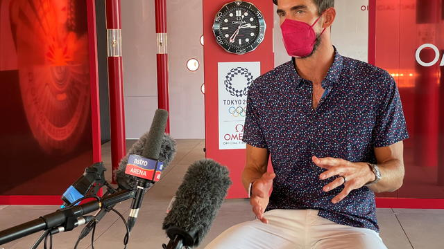 U.S. Olympic gold medalist in swimming Michael Phelps attends an interview in Tokyo