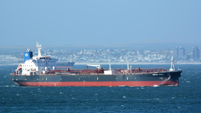 FILE PHOTO: The Mercer Street, a Japanese-owned Liberian-flagged tanker managed by Israeli-owned Zodiac Maritime that was attacked off Oman coast as seen in Cape Town