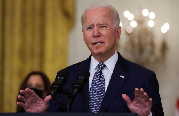 U.S. President Joe Biden discusses Senate passage of the bipartisan infrastructure bill at the White House in Washington