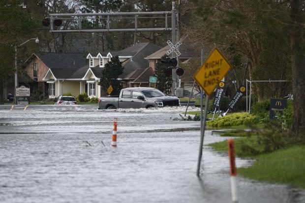 Flooded street in Louisiana after Hurricane Ida