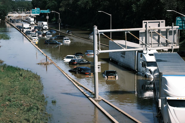 Cars abandoned on flooded highway in New York