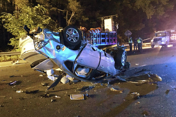 A vehicle was involved in a four-fatality crash in Richmond, Virginia, May 26, 2021.