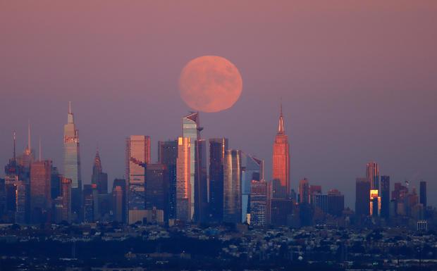 Harvest Moon Rises in New York City