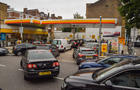Long queues form at a Shell petrol station in Islington.