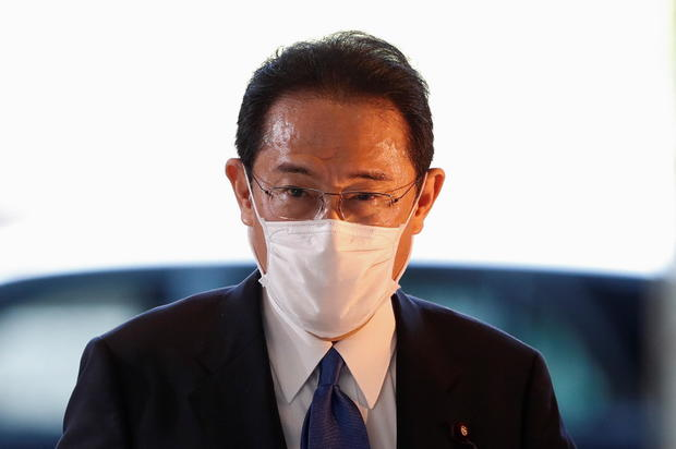 Japan's newly-elected PM Kishida arrives at his official residence in Tokyo