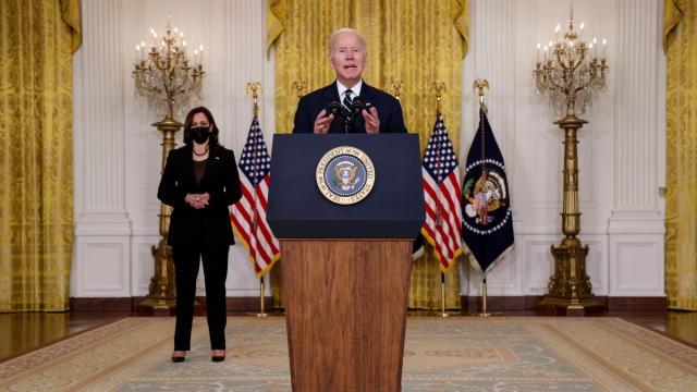 U.S. President Joe Biden provides update on Build Back Better agenda and infrastructure deal at the White House in Washington